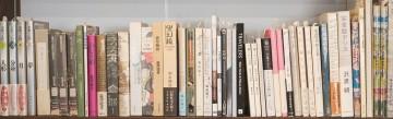 Kampfsportbücher in einem asiatischen Bücherregal