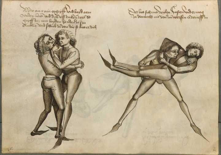 Auszug des Grapplings aus dem Talhoffer Fechtbuch aus dem Mittelalter