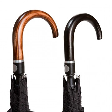 Selbstverteidigungsschirm Rundhakengriff in schwarz oder nussbaum Farbe
