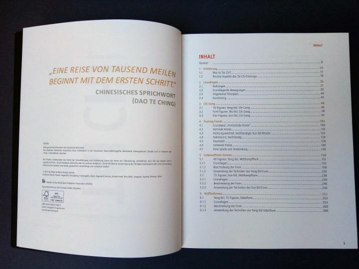 Tai Chi - Komplettes Trainingsbuch Karsten Kalweit – Inhaltsverzeichnis Auszug